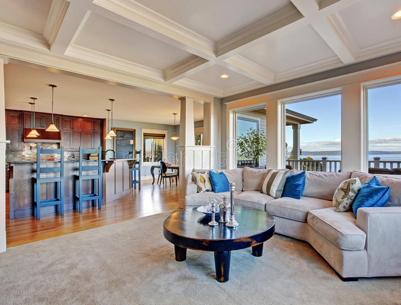 Download Luxury House With Open Floor Plan. Coffered Ceiling, Carpet And  Stock Image   Gallery