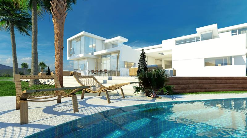 Luxury house with a tropical garden and pool. Luxury modern white house with angular walls and large windows overlooking a tropical landscaped garden with palm royalty free illustration