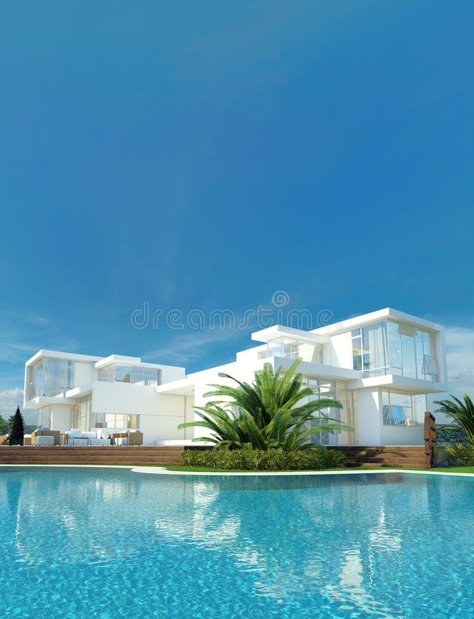 Luxury house with a tropical garden and pool. Luxury modern white house with angular walls and large windows overlooking a tropical landscaped garden with palm vector illustration