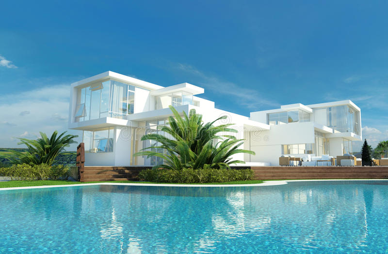 Luxury house with a tropical garden and pool stock for Luxury home windows