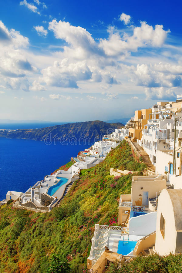Luxury houses, Imerovigli, Santorini royalty free stock photo