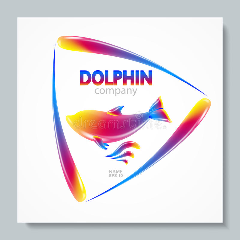 Luxury image logo Rainbow Dolphin. To design postcards, brochures, banners, logos, creative projects. vector illustration