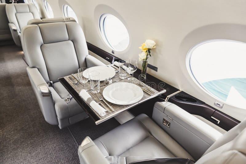 Luxury interior aircraft business aviation stock photo