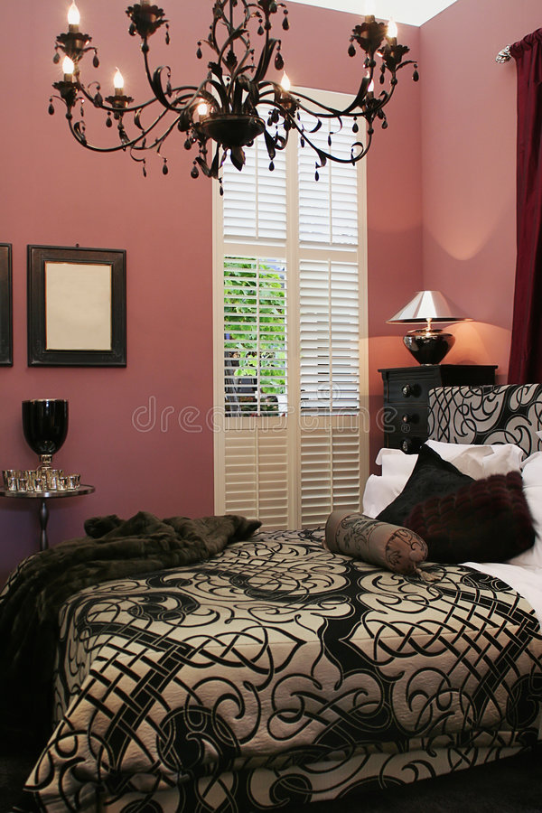 Luxury interior of bed room stock images