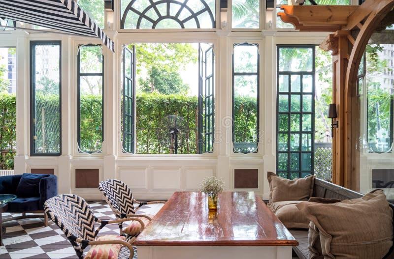 Luxury interior design in modern restaurant stock photography