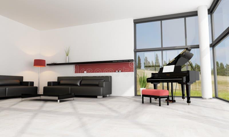 Luxury interior with grand piano stock illustration