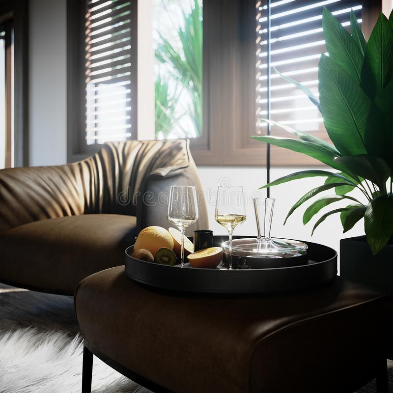 Luxury interior still life closeup with palm tree and wine glasses royalty free stock photography
