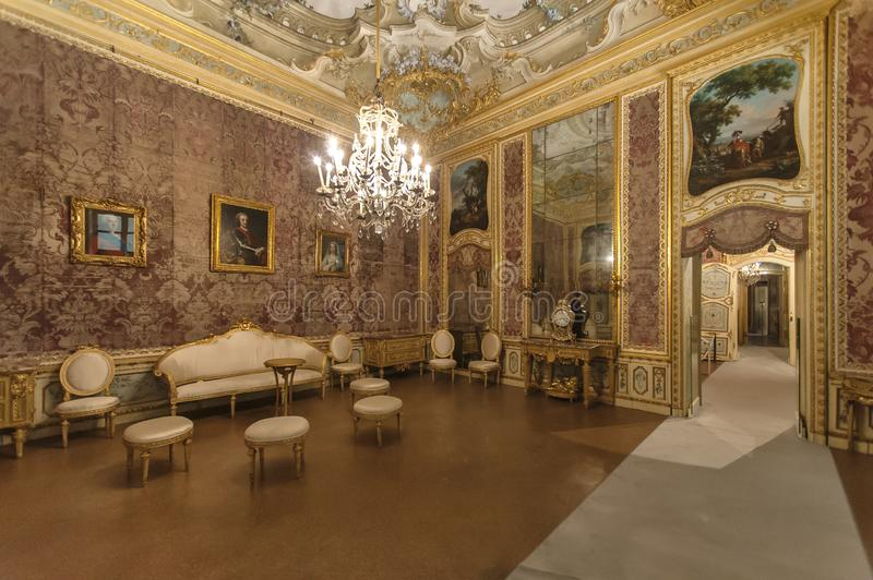 Luxury interior in Stupinigi royal hunting palace. Interior of Stupinigi royal hunting palace. Historical royal hunting palace built in the early 18th century stock image