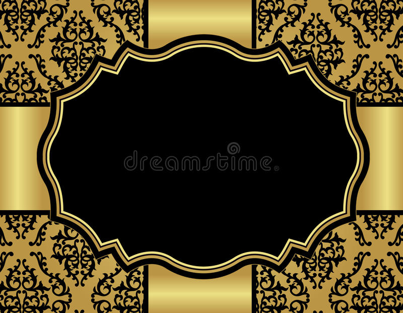 Luxury invitation card with damask seamless patter. Elegant gold and black damask pattern background with gold ribbon.. perfect as stylish wedding invitations vector illustration