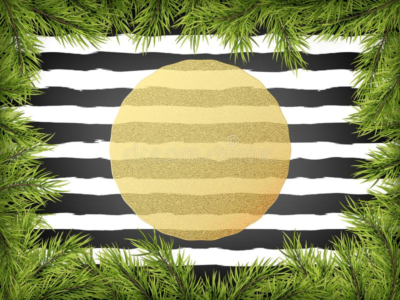 Luxury Invitation poster frame of pine, fir, spruce branches for a Christmas party on a striped black ans white royalty free illustration