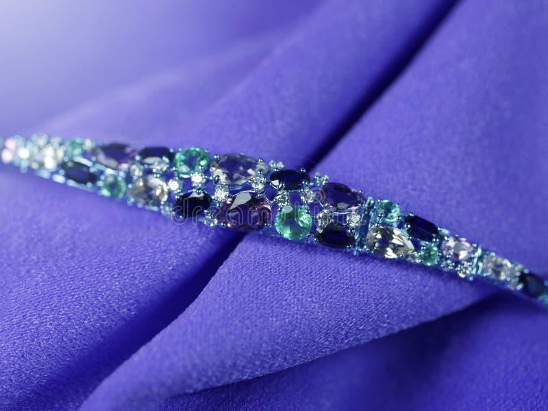 Luxury jewelry bracelet with gems royalty free stock photo