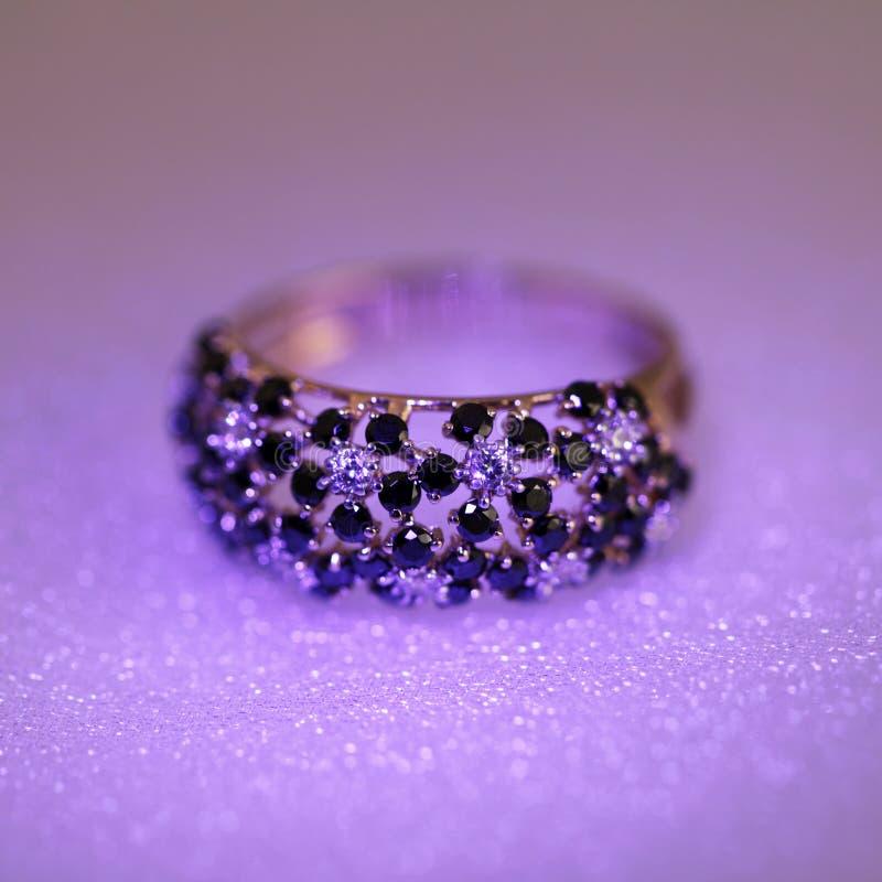 Luxury jewelry ring with brilliants stock photos