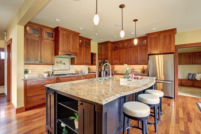 Luxury Kitchen With Bar Style Island. Stock Image - Image of stool ...