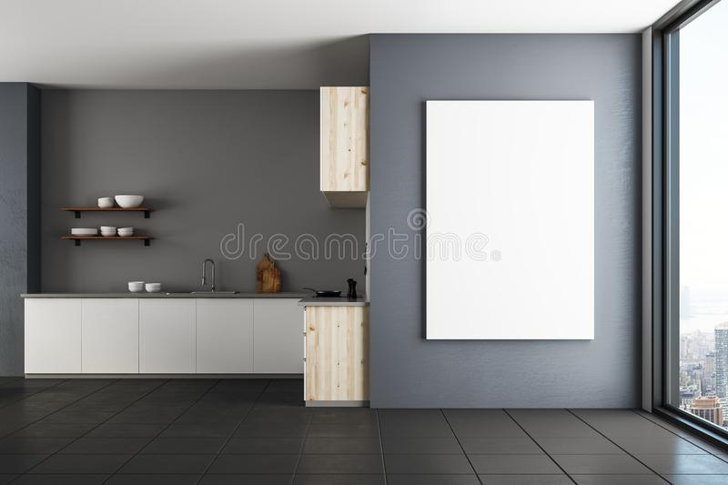 Luxury kitchen with empty banner royalty free stock photos
