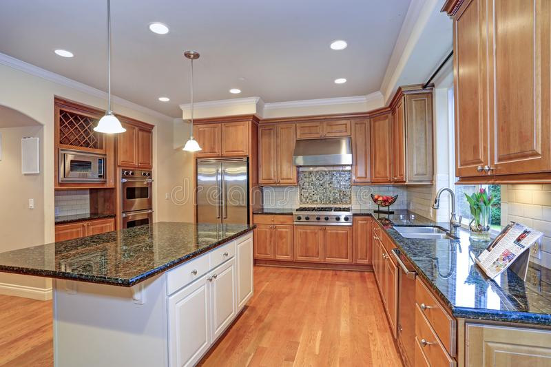 Luxury kitchen fitted with Viking appliances. Luxury kitchen with big island, light wood cabinets and Viking appliances royalty free stock photos