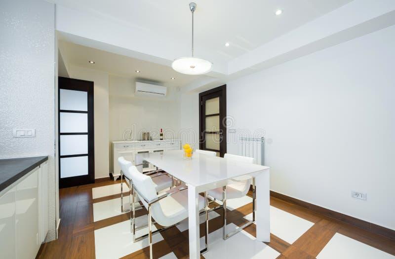 Luxury kitchen interior, dining area.  royalty free stock image