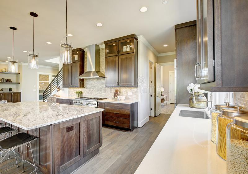 Luxury kitchen in a new construction home stock image