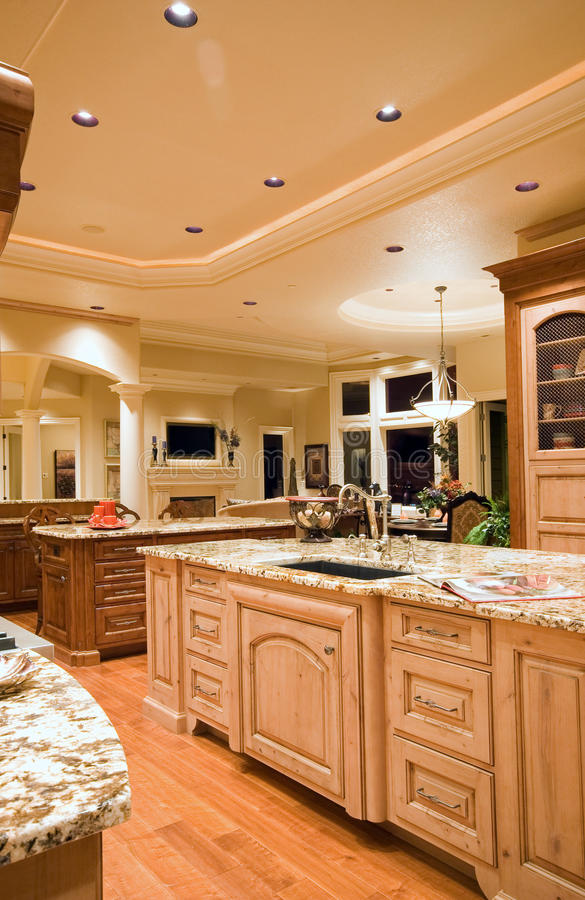 Luxury Kitchen with View of Living Room royalty free stock photos