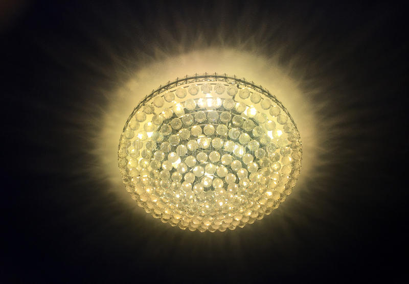 Luxury lamp room in hotel. Light from luxury lamp ceiling in the hotel room royalty free stock photography