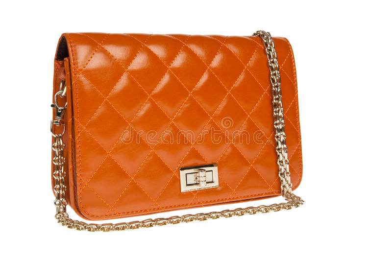Luxury leather female bag. On white stock photos