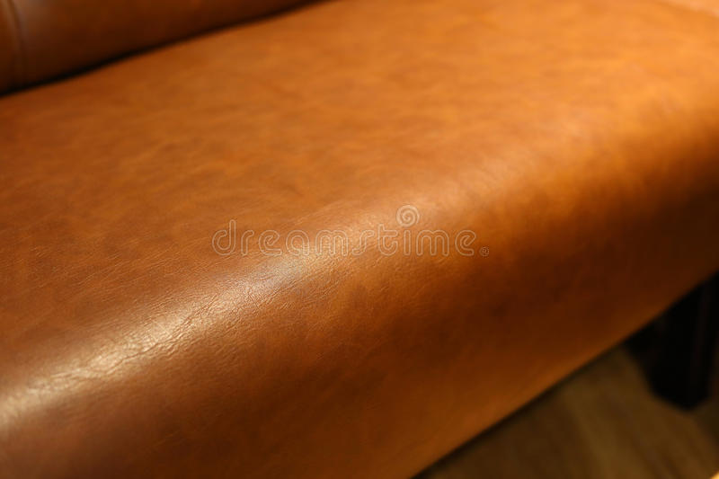 Luxury leather sofa furniture. Leather upholstery industrial, luxury brown sofa seat furniture in living room interior decoration stock image