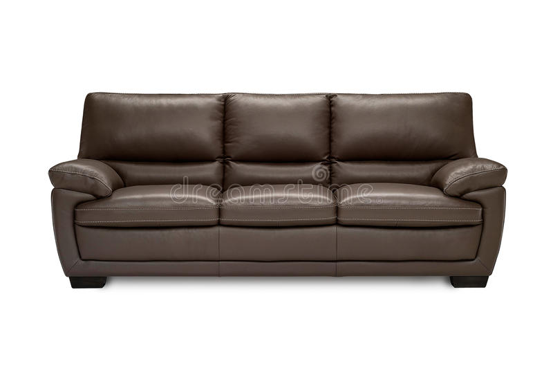 Luxury leatherbrown sofa isolated on white background royalty free stock photography