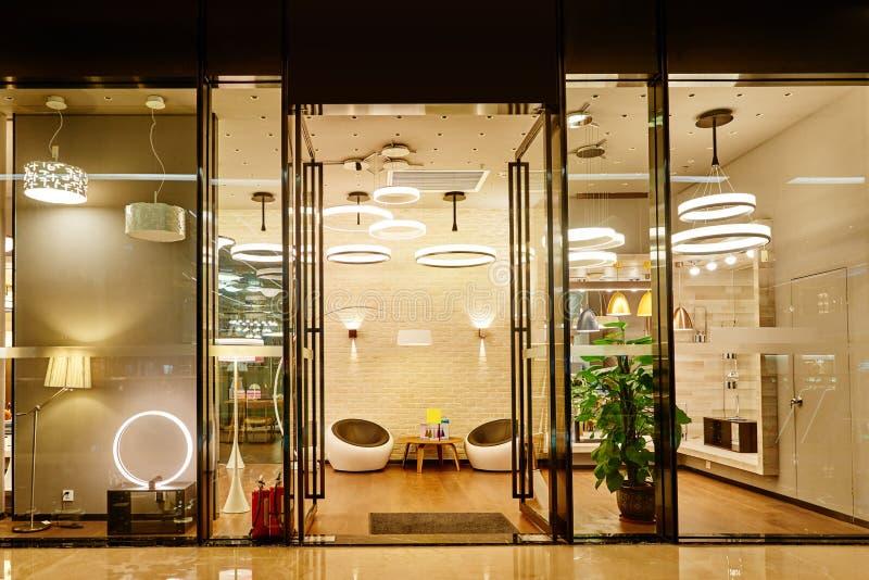 Luxury modern led lighting shop window exhibit modern pendant lampsfloor lights and desk lamps luxury show window in a lighting mallchinaasia