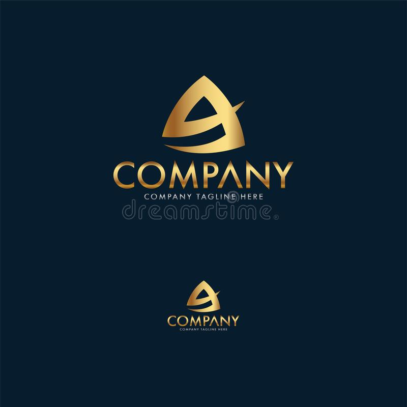 Luxury letter A logo design template royalty free illustration