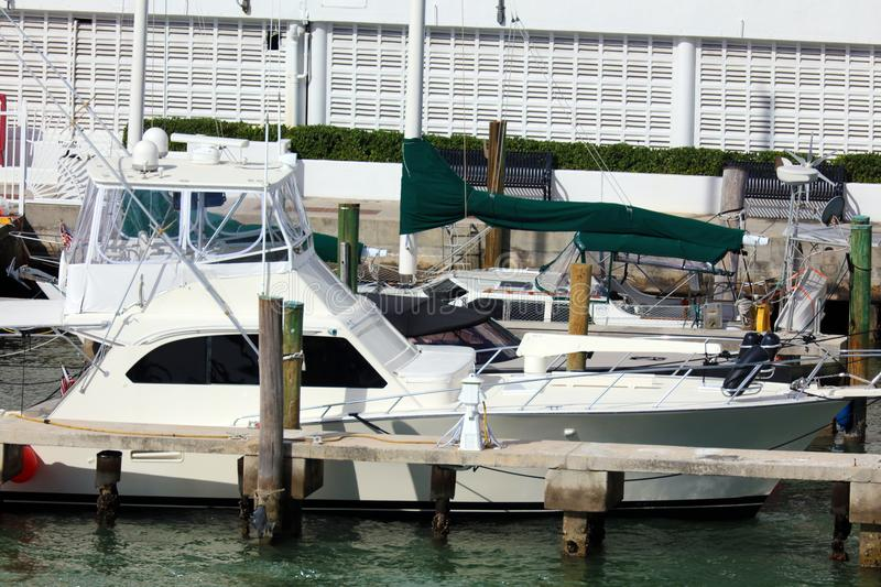 Luxury life yacht in Miami beach Florida Caribbean boat royalty free stock images