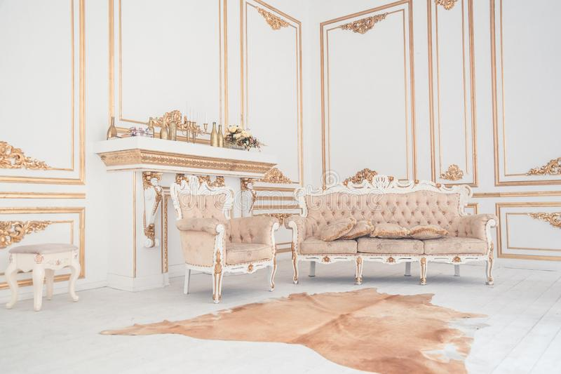 Luxury light interior of living room stock image