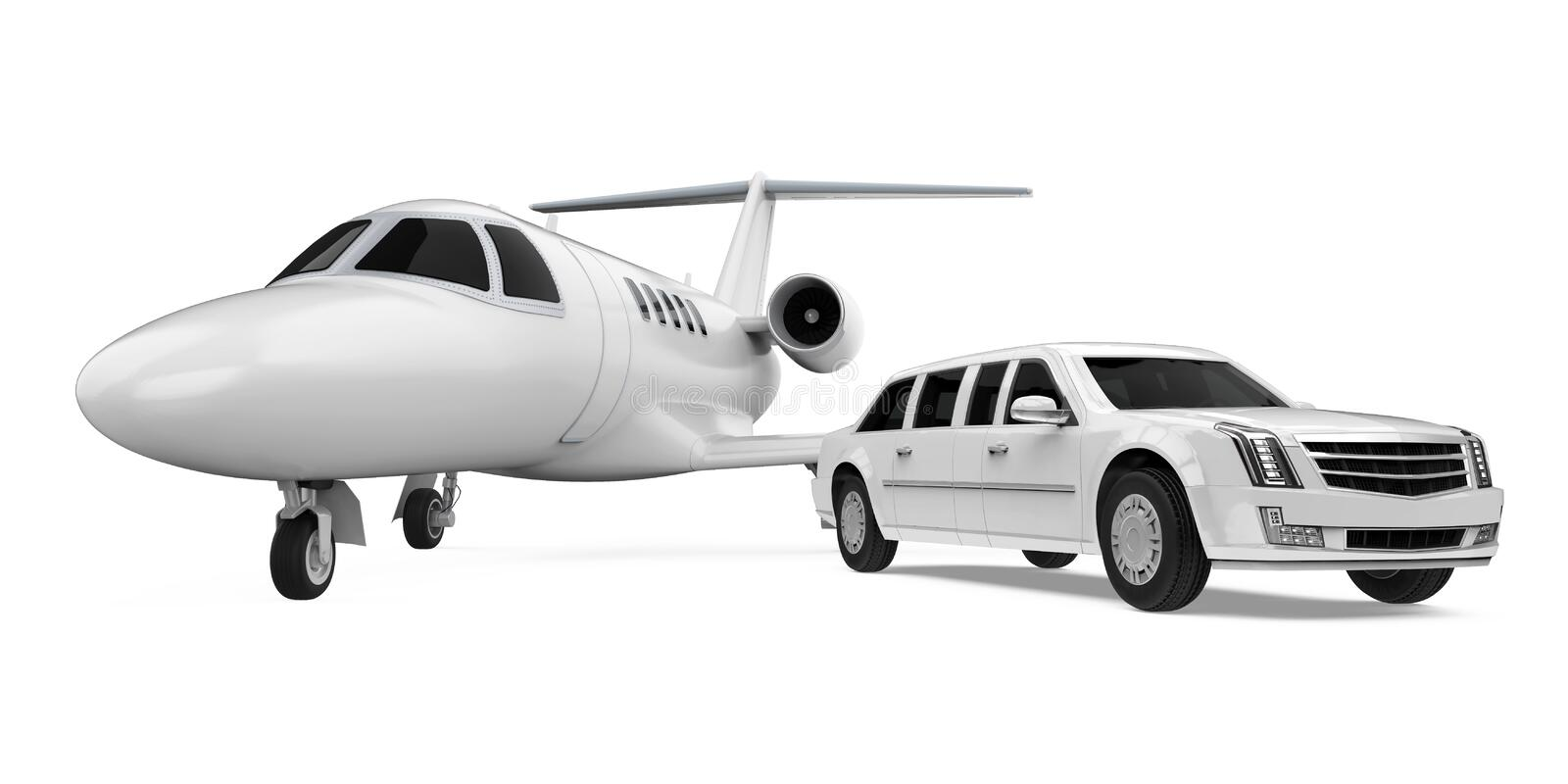 Luxury Limousine Car and Private Jet Isolated stock illustration