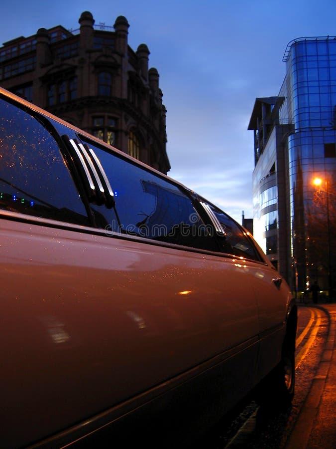 Luxury limousine in Manchester, England. Luxury limousine in dowtown Manchester, England royalty free stock photos