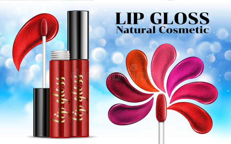 Luxury lip gloss ads Shades of shine sticky glossy liquid transparent glass container Cosmetics Package Design Promotion Product. Advertising Banner Billboard royalty free illustration
