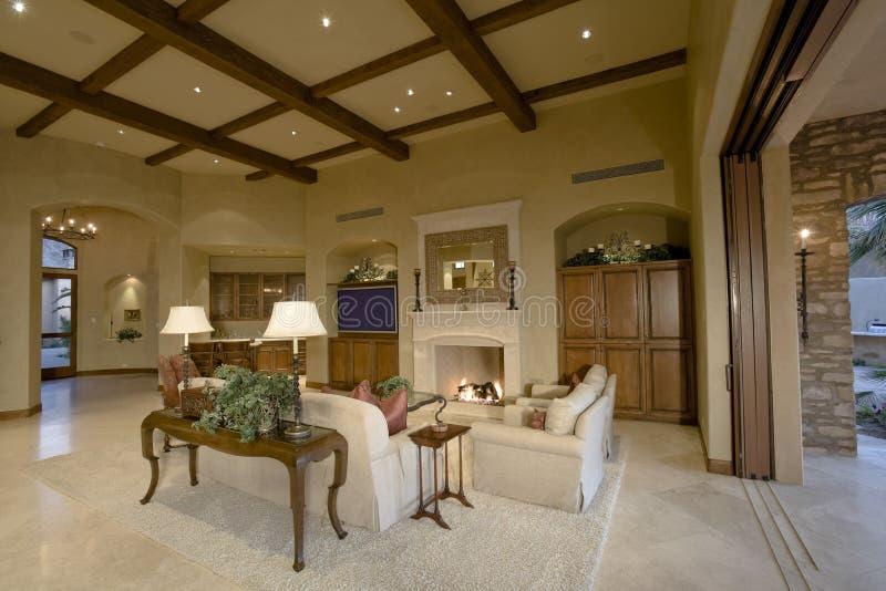 Luxury Living Room In House stock photo
