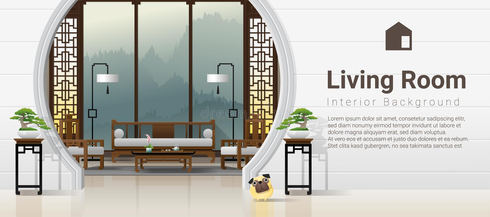 Luxury living room interior background with furniture in Chinese style royalty free illustration