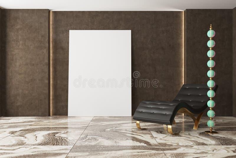 Luxury dark living room, armchair, poster vector illustration
