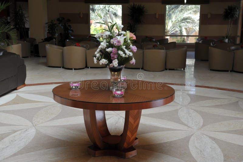 Luxury lobby interior. With bing hall, marble floor, french sash,mosaic tile,comfortable sofa, etc. Hotel. Luxury lobby interior.With bing hall, marble floor royalty free stock image