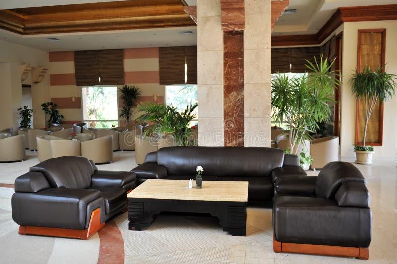 Luxury lobby interior. With bing hall, marble floor, french sash,mosaic tile,comfortable sofa, etc. Hotel. Luxury lobby interior.With bing hall, marble floor royalty free stock photo