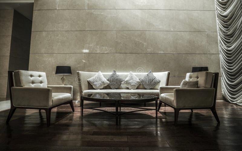 Luxury lobby interior. With crystal lamp,bing hall, marble floor, french sash,mosaic tile,comfortable sofa, etc stock photos