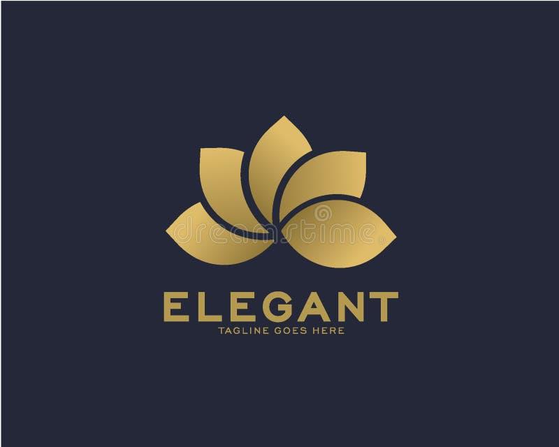 Luxury logo design concept, Flower lotus logo, Beauty or spa logo template stock illustration
