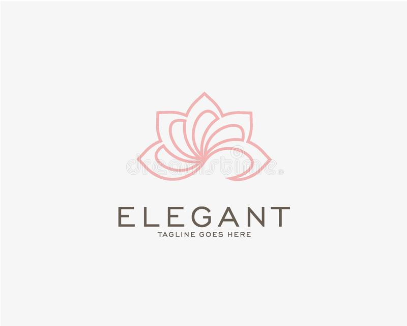 Luxury logo design concept, Flower lotus logo, Beauty or spa logo template royalty free illustration
