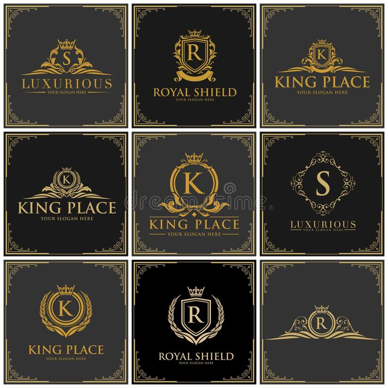 Luxury logo set. Template in vector for Restaurant, Royalty, Boutique, Cafe, Hotel, Heraldic, Jewelry. sophisticated luxury logo vector stock illustration
