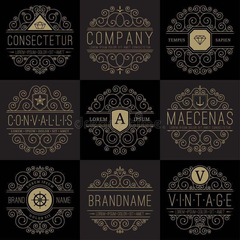 Luxury Logo Templates Set In Vintage Style Stock Vector ...