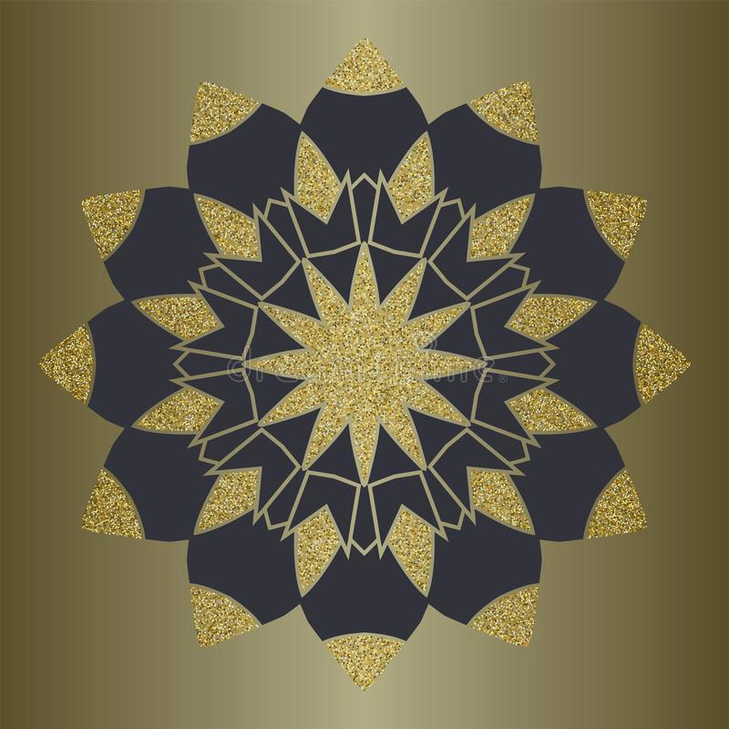 Luxury mandala with gold glitter in ethnic style. Decorative background with vintage ornament. vector illustration
