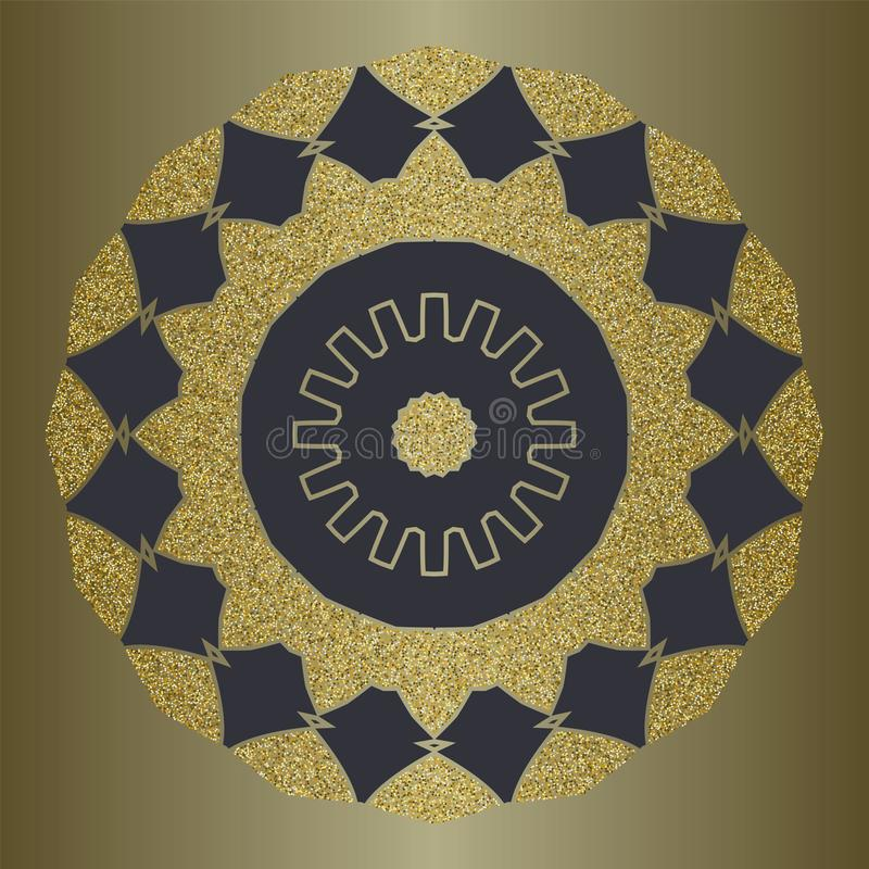 Luxury mandala with gold glitter in ethnic style. Decorative background with vintage ornament. stock illustration