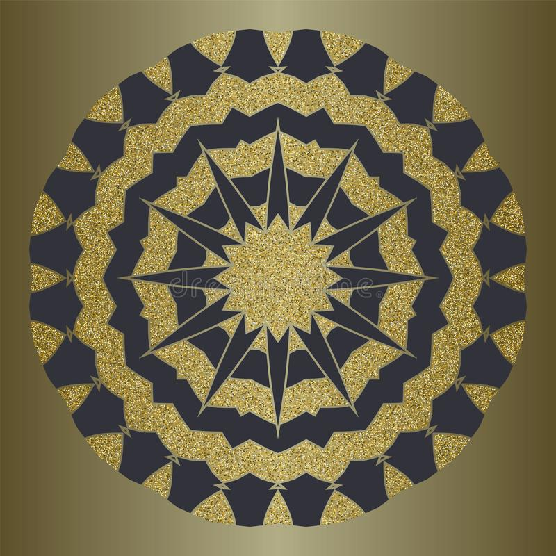Luxury mandala with gold glitter in ethnic style. Decorative background with vintage ornament. royalty free illustration