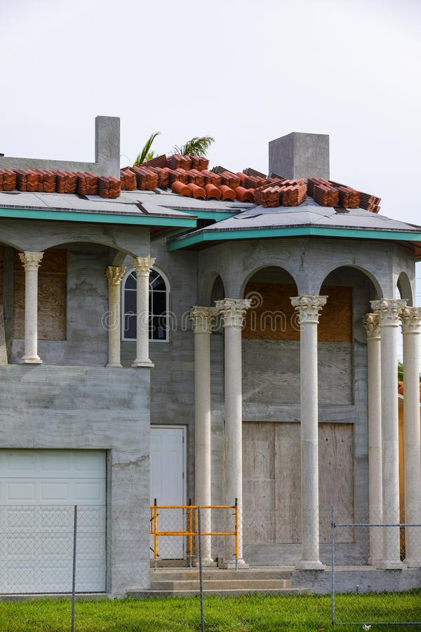 Luxury mansion construction South Florida. Image of a luxury mansion under construction in South Florida royalty free stock photo