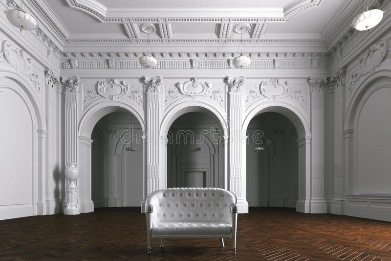 Luxury mansion villa interior with columns. White leather sofa. royalty free illustration