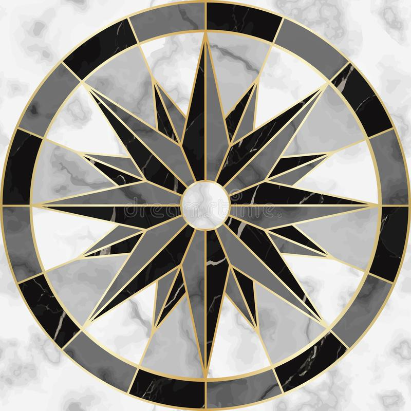 Free Luxury Marble And Gold Compass Sign Seamless Pattern Royalty Free Stock Photos - 132754018