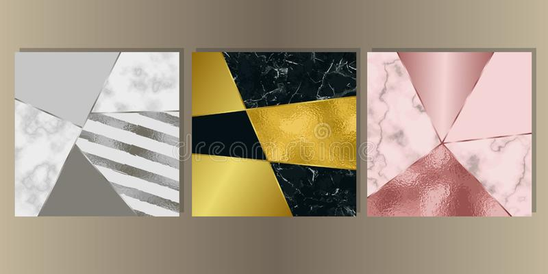 Luxury Marble Cover Set with Geometric Elements royalty free illustration